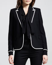 Saint Laurent Piped Peak-Lapel Tuxedo Jacket