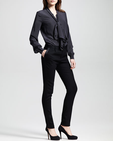 Leather-Trim Tuxedo Pants