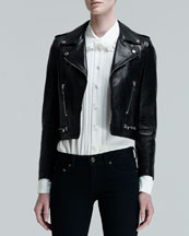 Saint Laurent Perfecto Cropped Leather Motorcycle Jacket