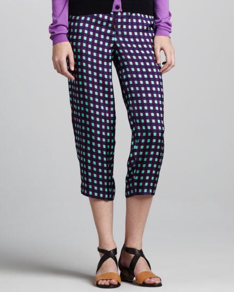 Grid-Print Cropped Pants, Violet