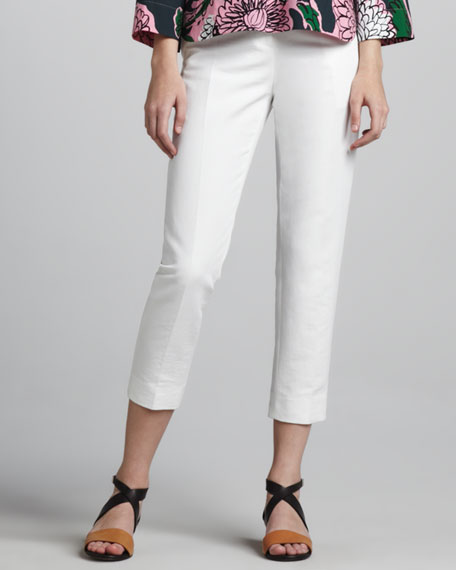 Cropped Side-Zip Pants, Lily White