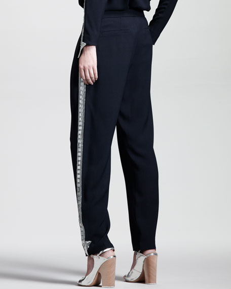 Embroidered Light Cady Pants