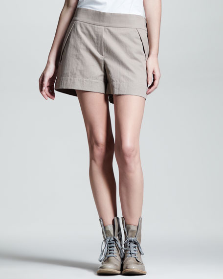 Foldover Gabardine Shorts