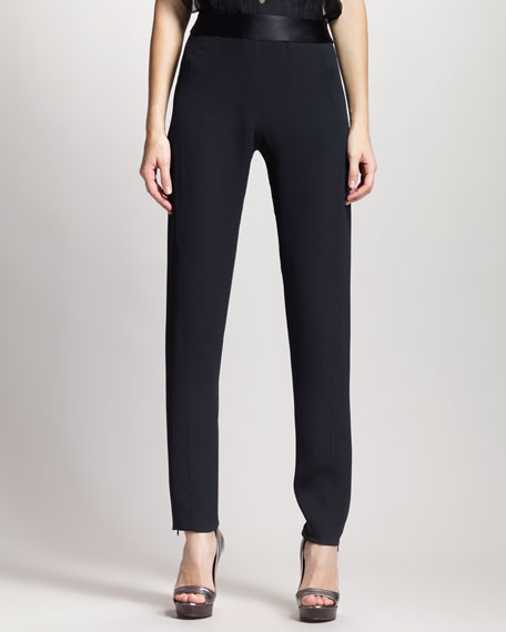 High-Waist Slim Tuxedo Pants