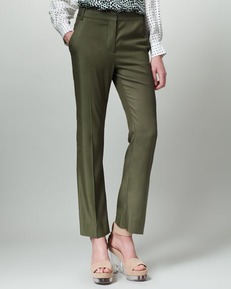 Slouchy Ankle Pants, Forest Green