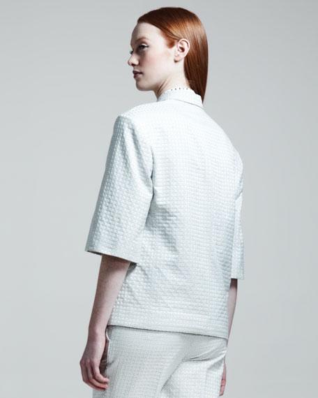 Half-Sleeve Dot Jacquard Jacket, Paper
