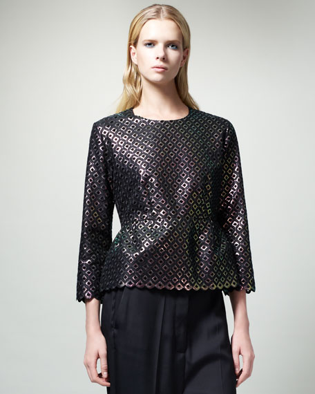 Diamond-Pattern Peplum Top