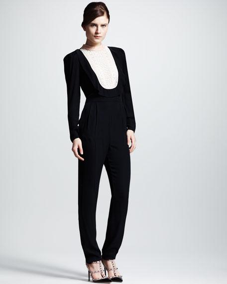 Plastron-Bib Silk Jumpsuit