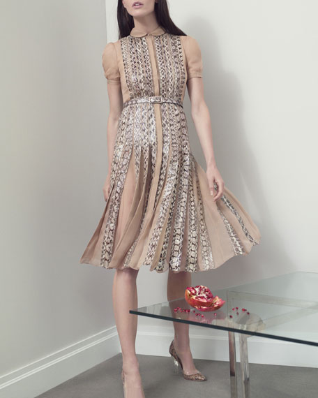 Snakeskin Pleated Dress, Beige