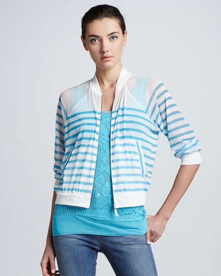 Striped Tulle Bomber Cardigan