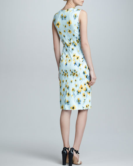 Deco Floral-Print Sheath Dress, Yellow