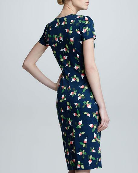 Radish-Print Short-Sleeve Sheath Dress, Navy