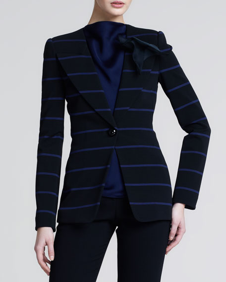 Striped Jersey Blazer, Black Ink
