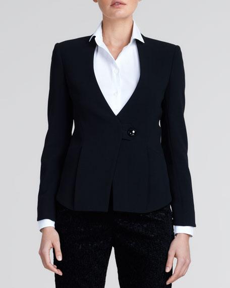 One-Button Wool Jacket, Black