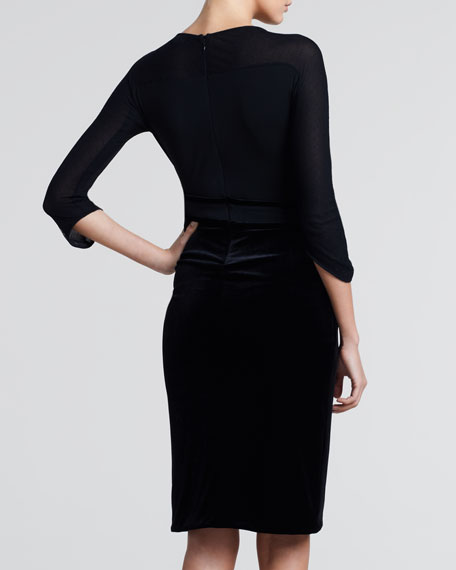 Three-Quarter-Sleeve Combo Dress, Black