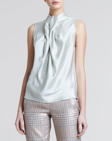 Pleated-Front Silk Blouse, Oyster