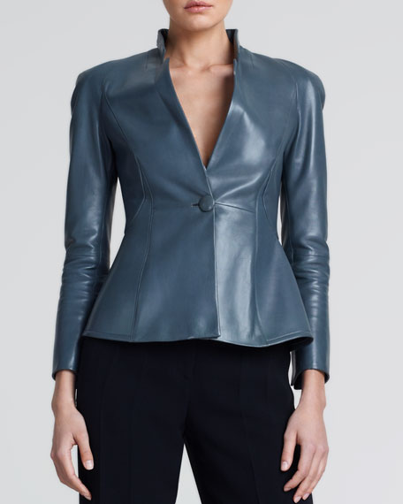 One-Button Leather Jacket, Gray