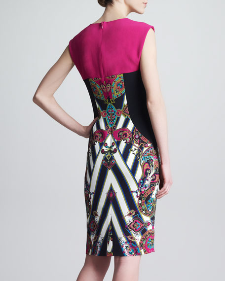 Mixed-Print Cap-Sleeve Sheath Dress, Pink/Black