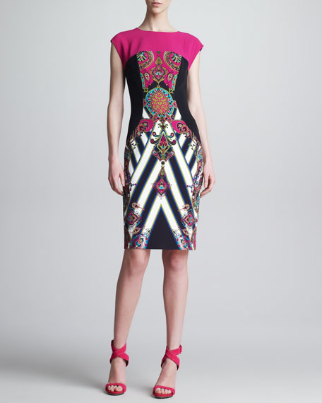 Mixed-Print Cap-Sleeve Sheath Dress, Pink/Black