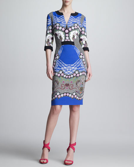 Printed Paneled V-Neck Dress, Royal/Black