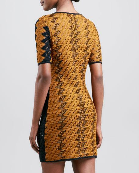 Short-Sleeve Zigzag Knit Dress, Mustard/Turquoise