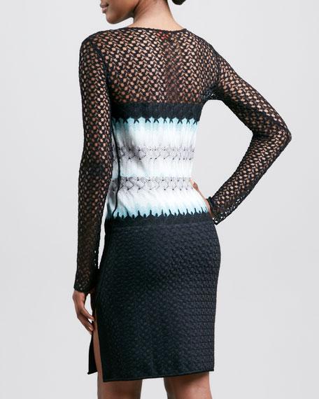 Long Crochet-Sleeve Dress, Black/Aqua