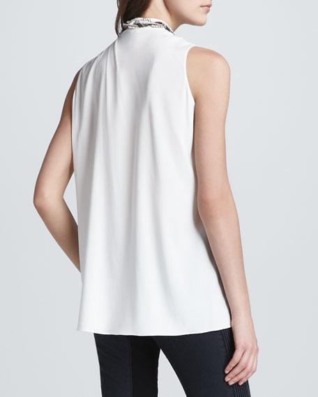 Asymmetric Draped Beaded Silk Tank, White