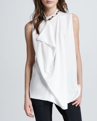 Asymmetric Draped Beaded Silk Tank, White