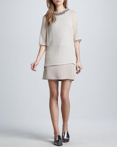 Trompe l'Oeil Layered Dress, Pebble