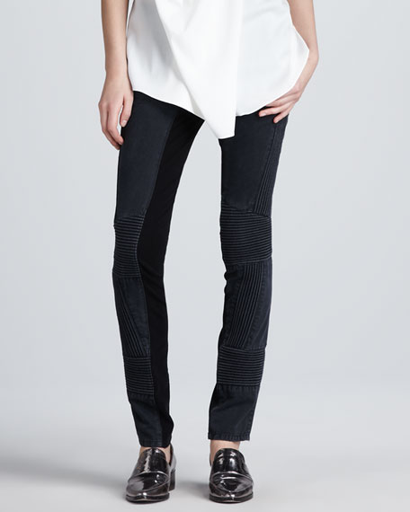 Ponte-Insert Corded Pants, Black