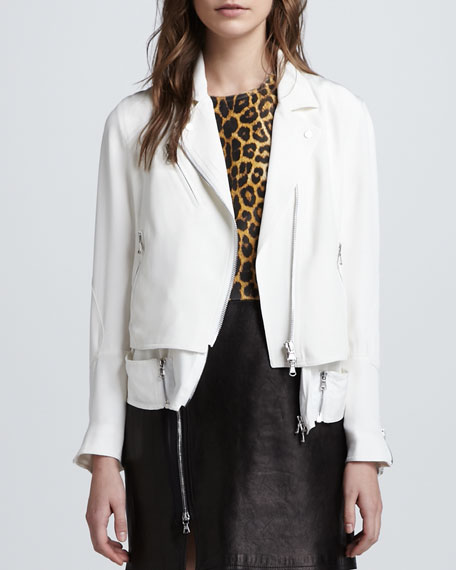 Trompe l'Oeil Layered Silk Moto Jacket, White