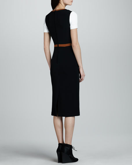 Crepe Colorblock Short-Sleeve Dress