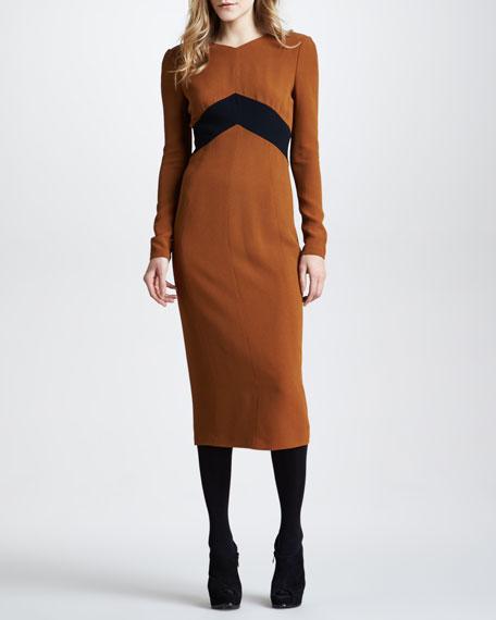 Chevron-Detail Dress
