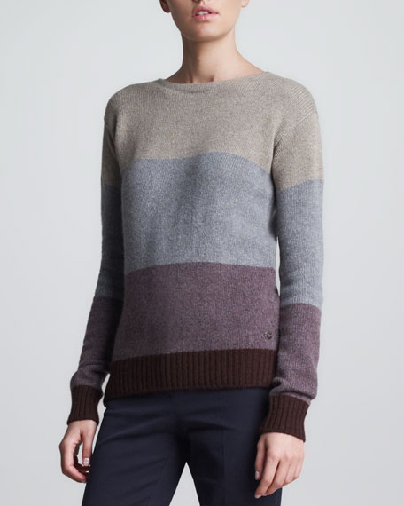 Cashmere Colorblock Sweater, Violet/Multi