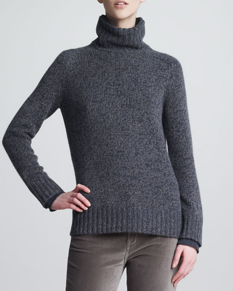Allie Melange Turtleneck, Blue/Silver