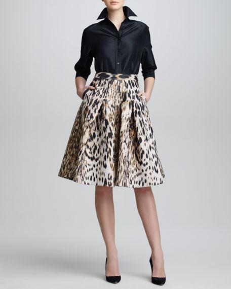 Animal-Print Jacquard A-Line Skirt