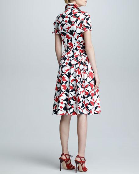 Diamond-Print Short-Sleeve Dress, Red/Black/White