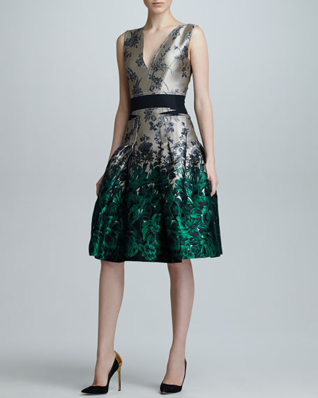 Ombre Floral Jacquard Dress, Star/Green