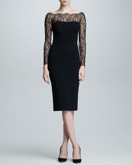 Lace Long-Sleeve Jersey Dress, Black