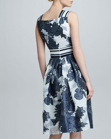 Floral Jacquard Organza Dress, Blue
