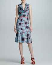 Carolina Herrera Printed Silk Cowl-Neck Dress, Celestial Blue/Red