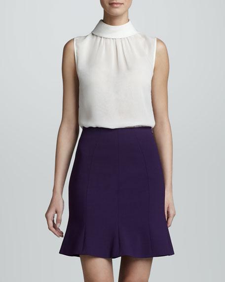 Flared Hem Crepe Skirt, Violet