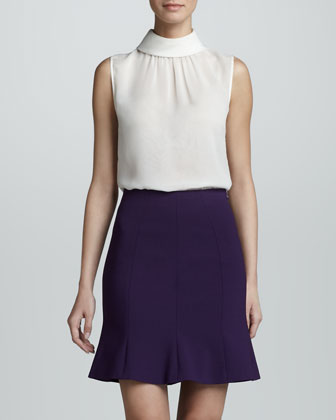 Flared Hem Crepe Skirt, Violet
