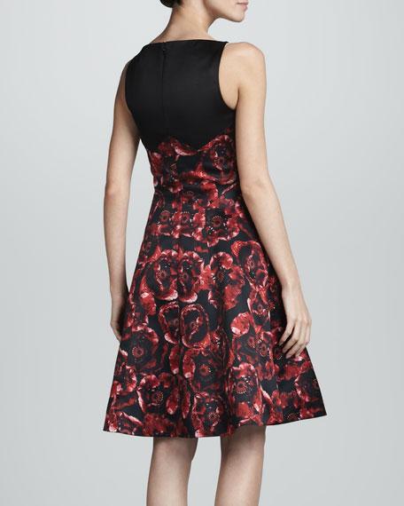 Combo Silk Satin Dress, Black/Ruby