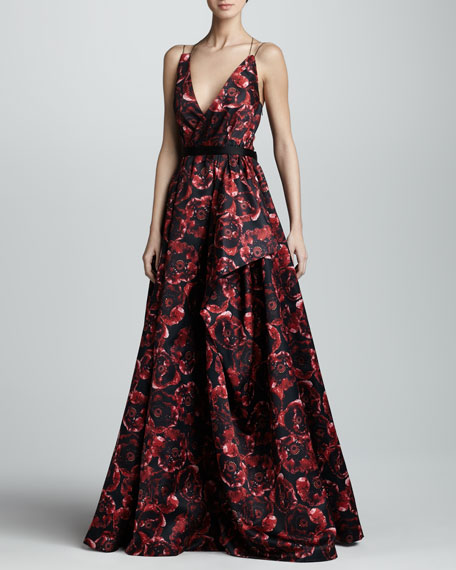 Printed Silk Ball Gown, Ruby/Black