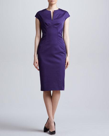 Slit-Front Seamed Dress, Amethyst