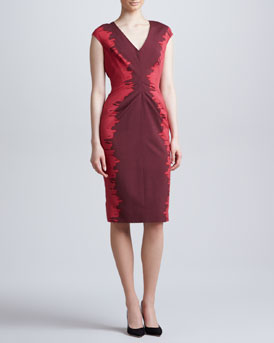 Lela Rose Side-Printed V-Neck Dress, Plum/Berry