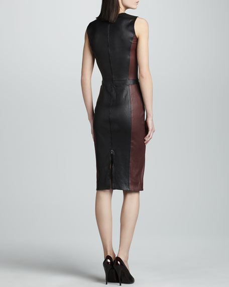 Sleeveless Leather Dress, Burgundy/Black