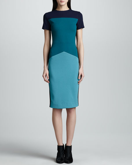 Colorblock Pebble Crepe Jersey Dress, Teal/Multi