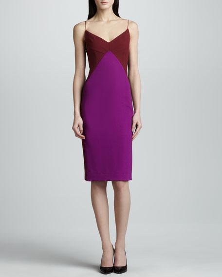 Spaghetti-Strap Stretch Pique Dress, Maroon/Iris